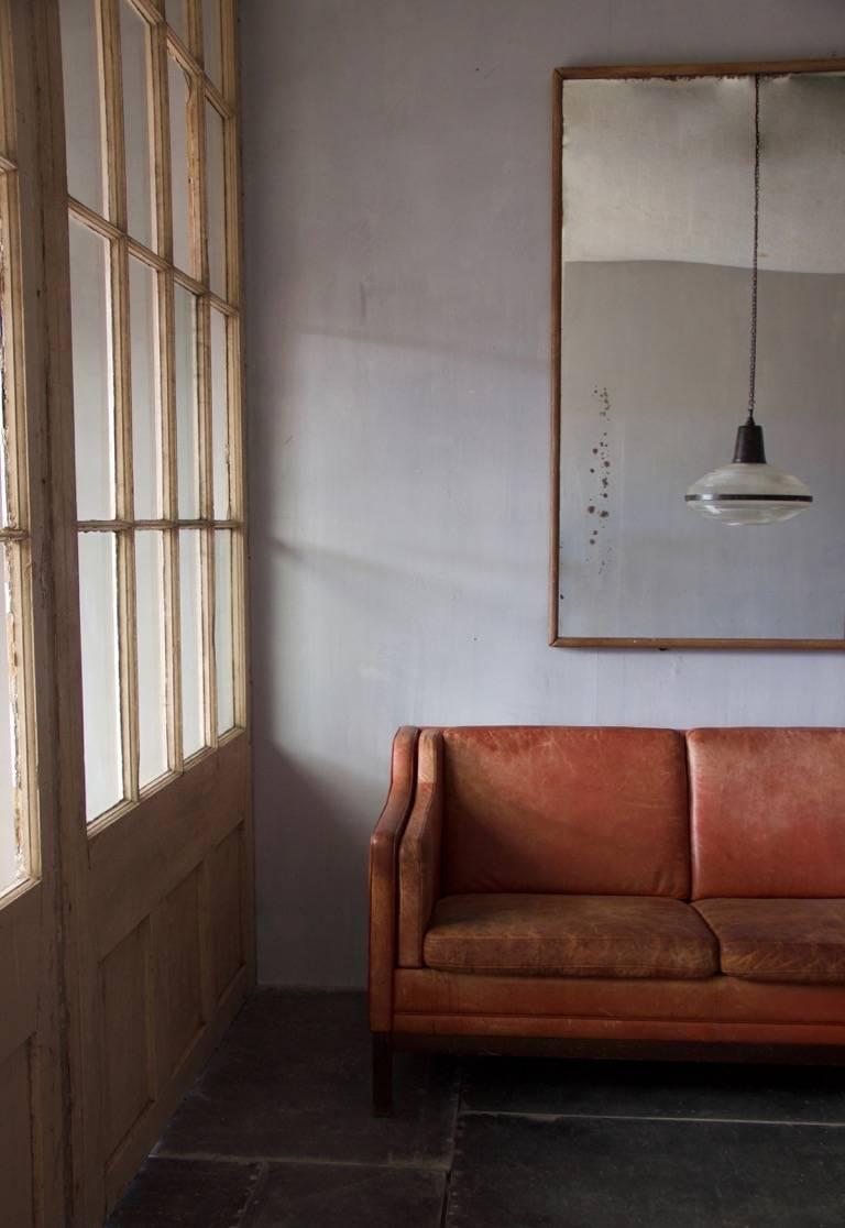Danish Midcentury Leather Sofa For Sale