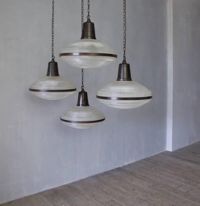 A Set Of Five Large Holophane Pendant Lights Unusual Form England Circa 1940