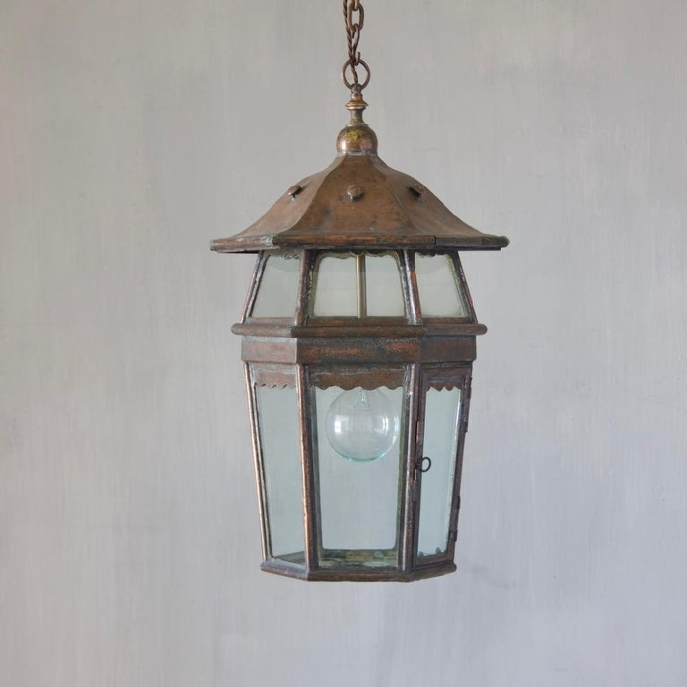A rare, early 20th century Arts & Crafts copper lantern with unusual two-tier design, England, circa 1900.