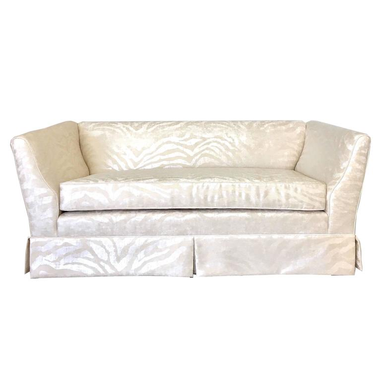 Hollywood Regency Style Silver Zebra On Cream Print Chenille Loveseat For Sale At 1stdibs