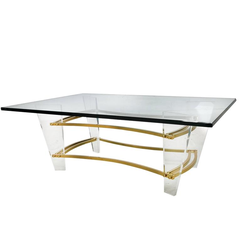 Charles Hollis Jones Brass and Lucite Coffee Table