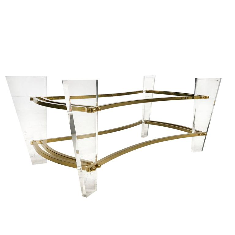 charles hollis jones brass and lucite coffee table for sale at 1stdibs
