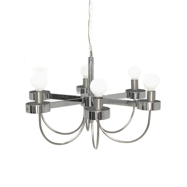 Mid-Century Modern Chrome Six-Light Chandelier