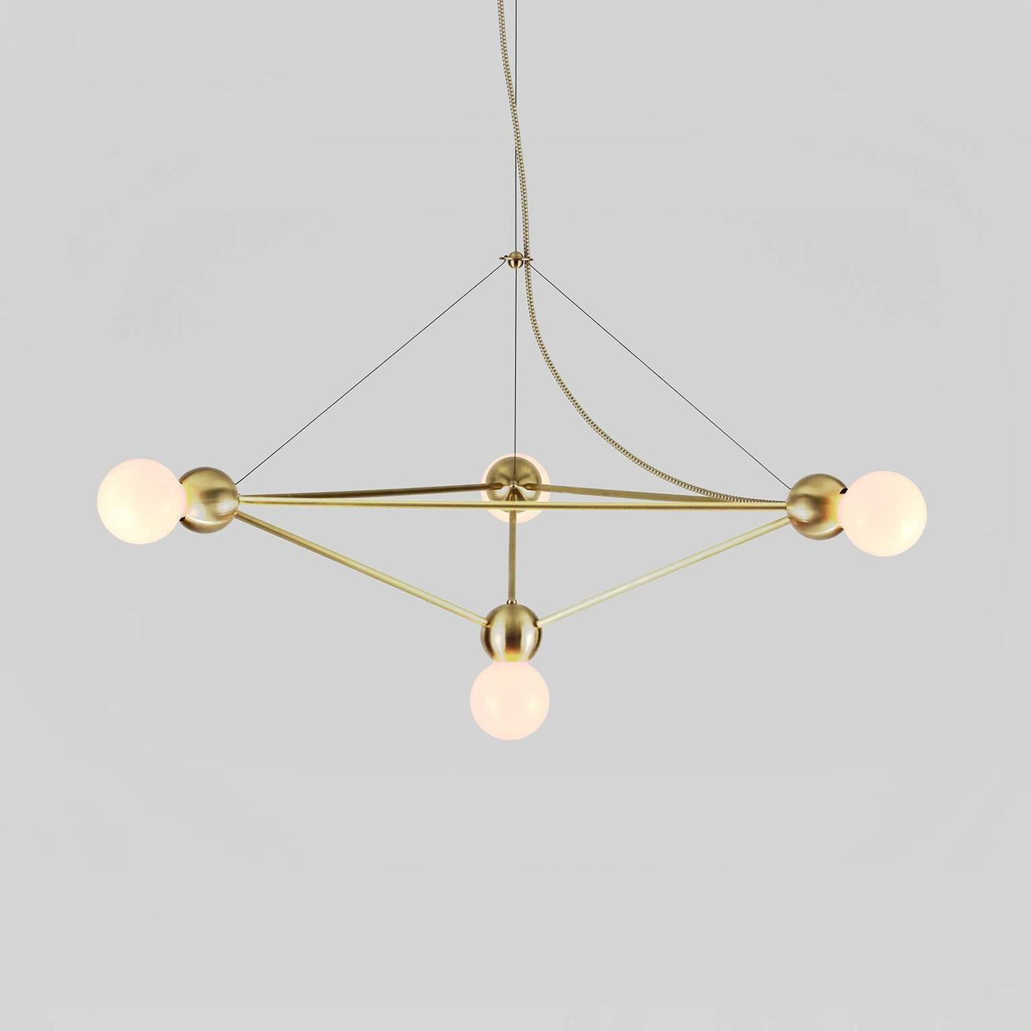 Geometric Brass Chandelier: Lina 04 Light Pyramid LG, Modern Minimal Geometric
