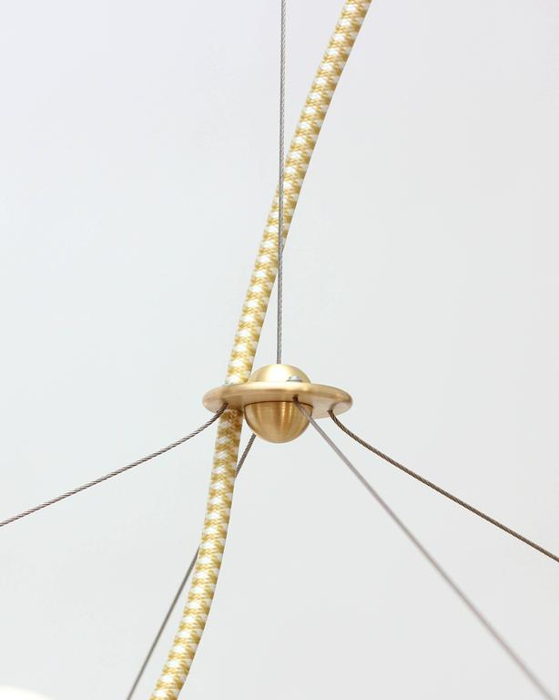Lina Twelve-Light Chandelier, Brushed Brass, Modern Minimal Geometric Lighting In Excellent Condition For Sale In Brooklyn, NY
