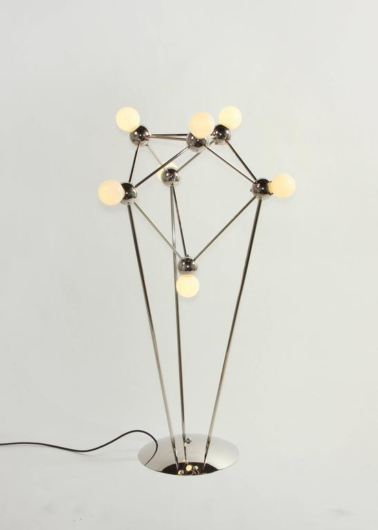 Lina 07-Light Floor Lamp, Modern Minimal Atomic Space-Frame, Polished Nickel 2