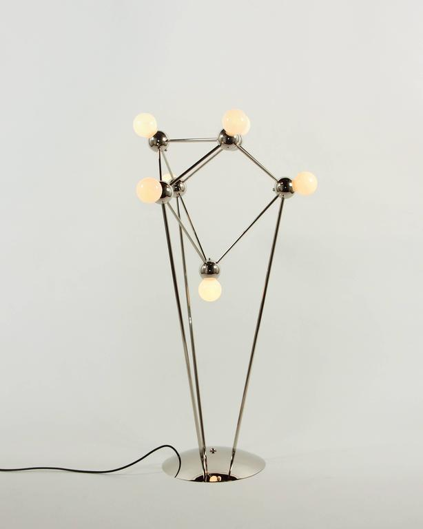 Lina 07-Light Floor Lamp, Modern Minimal Atomic Space-Frame, Polished Nickel 3