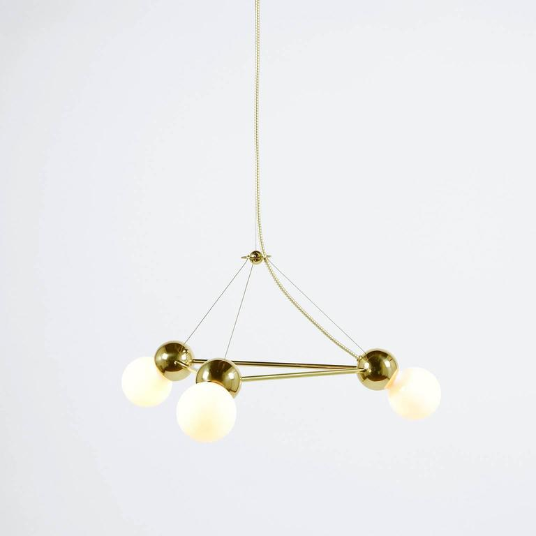 Geometric Brass Chandelier: Lina 03 Light Triangle, Modern Minimal Geometric