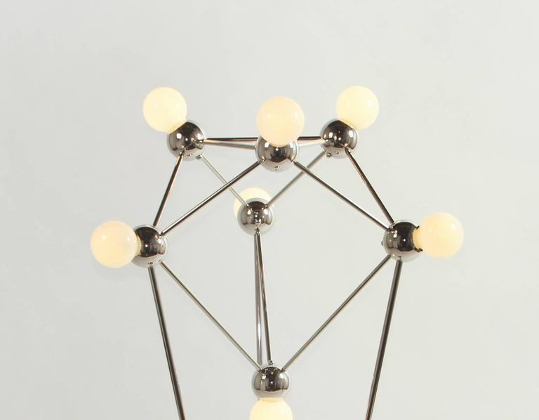 Lina 07-Light Floor Lamp, Modern Minimal Atomic Space-Frame, Polished Nickel In Excellent Condition For Sale In Brooklyn, NY