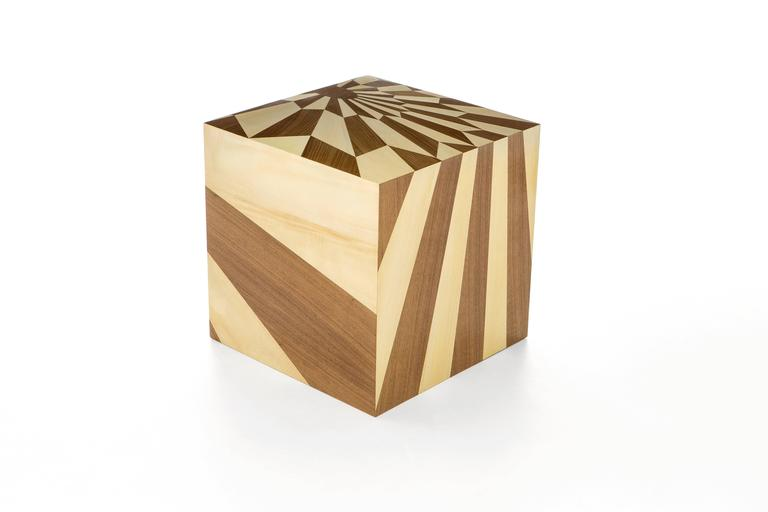 Tectonic Silence Side Table Cube in Wood Marquetry 2