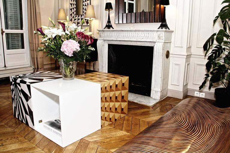 Tectonic Silence Side Table Cube in Wood Marquetry 5