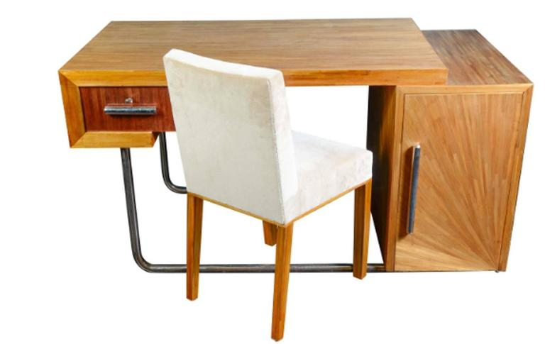 Exceptional and Sophisticated 1930 Straw Marquetry Lady Desk with its Chair by Art Déco, French Designer Blanche Klotz. Particularity: doubled-sided. Modernist desk chromed steel and straw marquetry. Dimensions: H 81 x P 48 x L 44 cm.  This