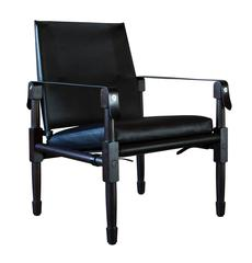 Large Chatwin Lounge Chair in Dark Stained Oak with Black Leather