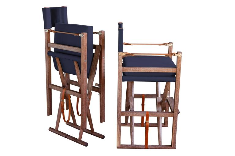 This product is made to order. Prices may vary depending on materials chosen.  Shown: Limed walnut, Perennials Oh Sailor upholstery, English bridle leather strapping in cognac.  Our seating collection is comprised of 30 chairs, stools, and benches.