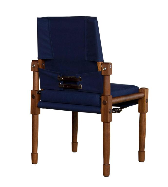 Walnut Armless Chatwin Dining Chair Or Side Chair With Navy Canvas Upholstery