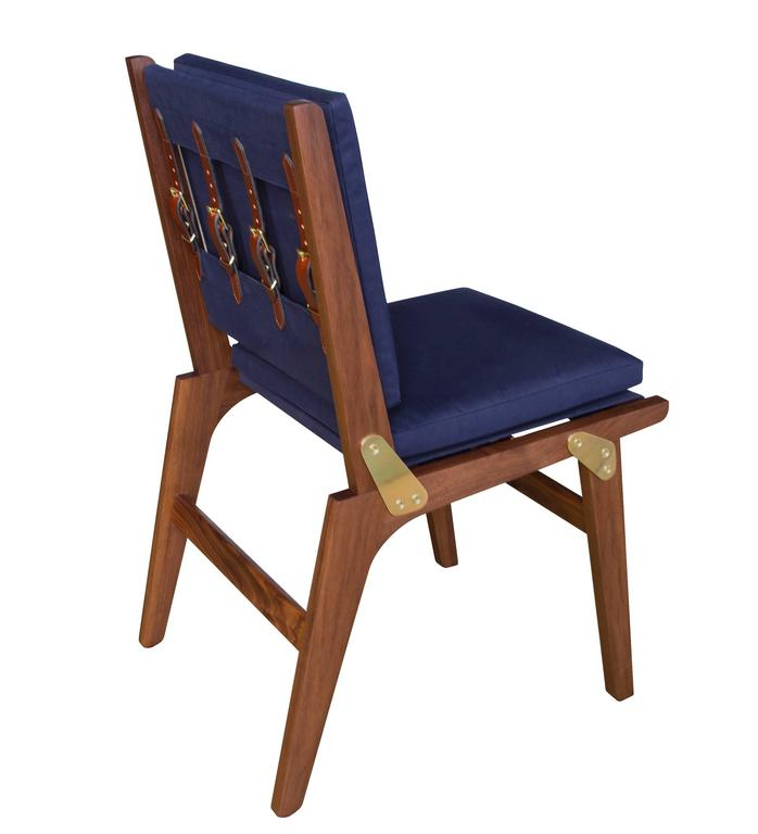 Ofs Dining Chair With Navy Canvas Upholstery And Saddle