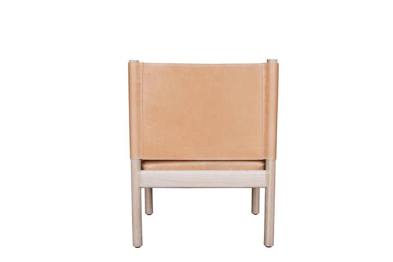 Campaign Reed Chair in Natural Finished White Oak with Leather Upholstery For Sale