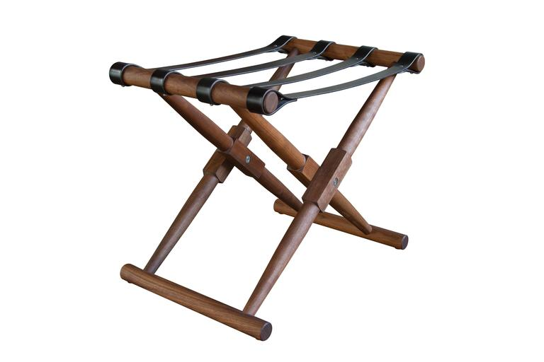 """This product is made to order. Prices may vary depending on materials chosen.  Shown: Matthiessen luggage rack in oiled walnut with dark chocolate English bridle leather straps: 25"""" W x 17"""" D x 20"""" H.  Dimensions: 25"""" W x 17"""" D x 20"""" H 30"""" W x 20"""" D"""