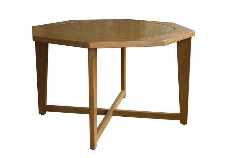 Octagonal hendricks dining poker table in custom stained for Hendricks furniture