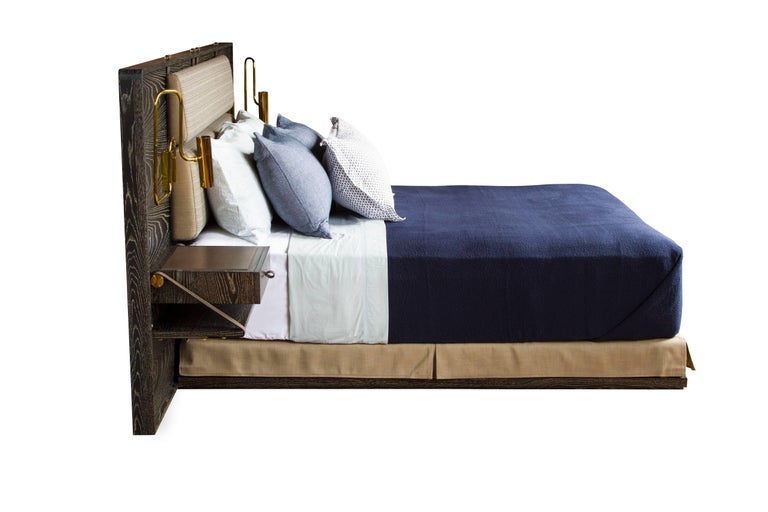 Marlton Bed with Upholstered Headboard, Leather Straps and Side Tables 3