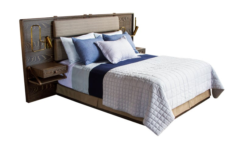 Marlton Bed with Upholstered Headboard, Leather Straps and Side Tables 2