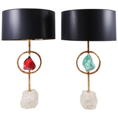 Pair of Brass, Crystal and Travertine Stone Table Lamps by Michele Notte, 2012
