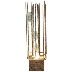 Italian Sculpture Light, Brass Tube and Light Blue Crystal by Michele Notte