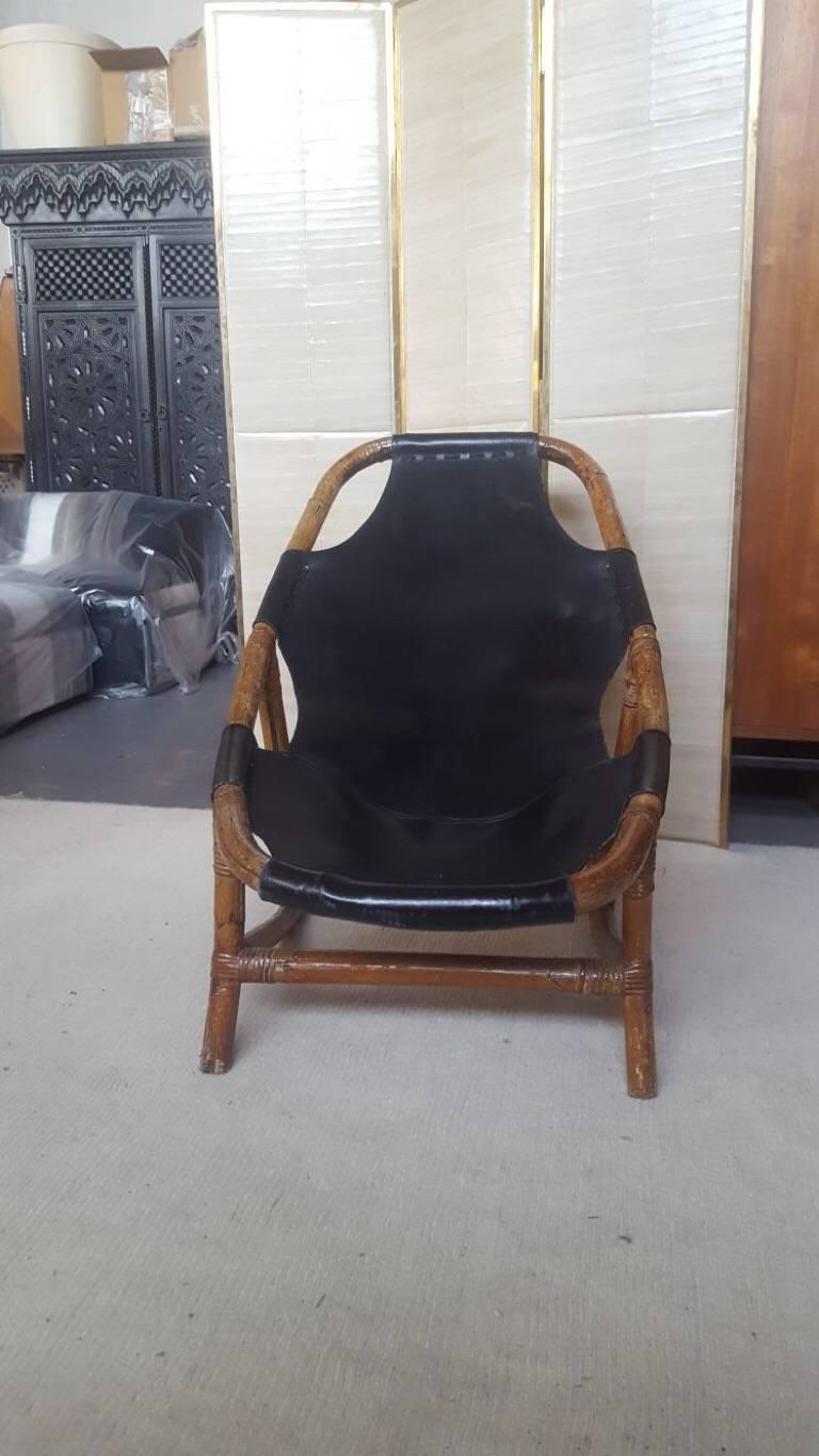 Mid-Century Modern Bamboo and Leather Armchairs, 1960s, Italy For Sale