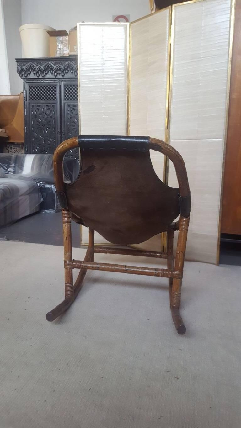 Italian Bamboo and Leather Armchairs, 1960s, Italy For Sale