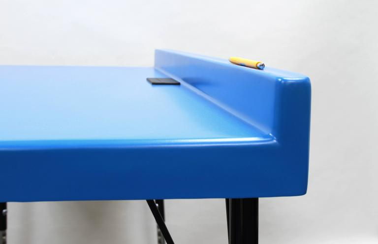 American 104 Desk in Fiberglass with Powder Coated Steel Legs and Grommet For Sale