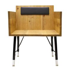 Angled Lounge Chair in Solid Wood with Leather Cushion and Steel Legs