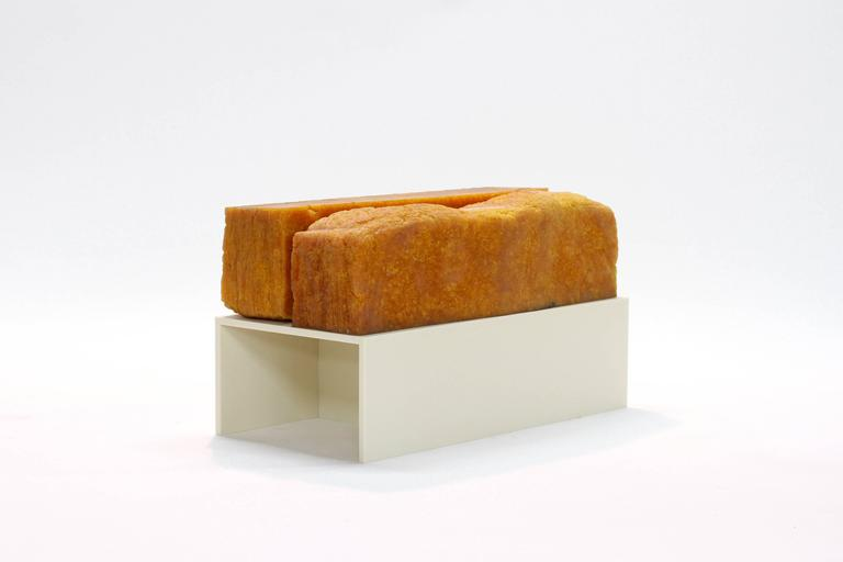 Pressed 705 Bench - Modern Sculpture in Natural Rubber and Corian  For Sale