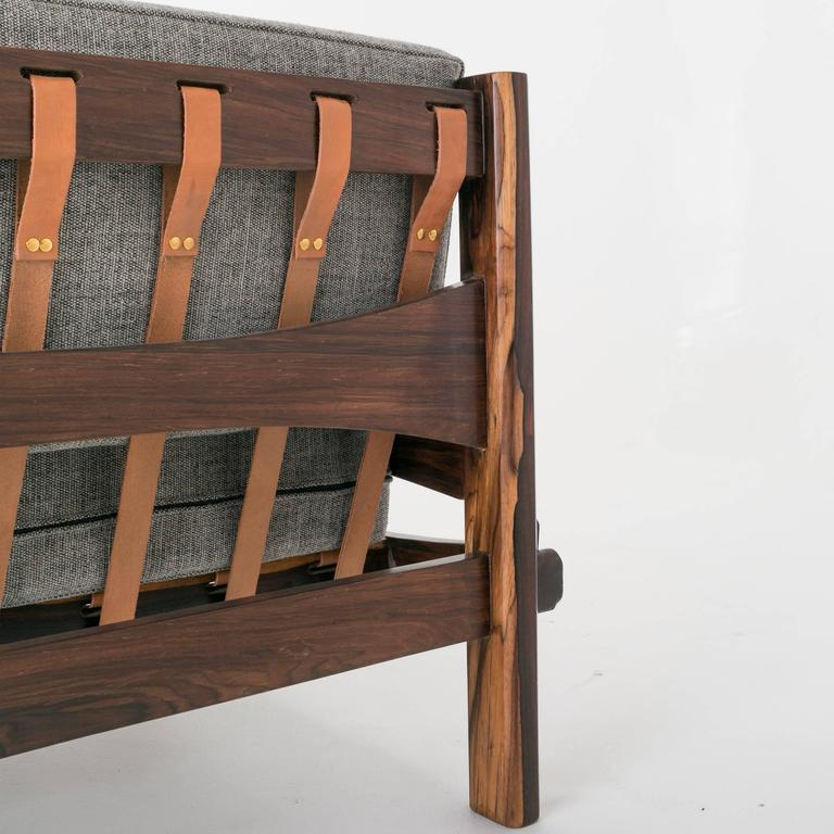 Brazilian Rosewood and Leather Strap Sculptural Sofa in Gray Fabric 3