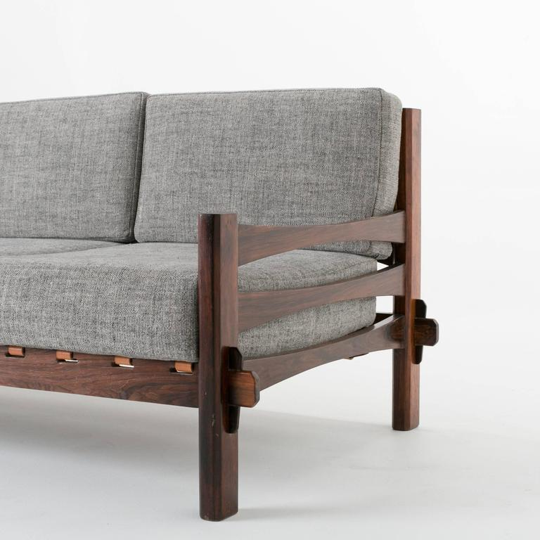 Brazilian Rosewood and Leather Strap Sculptural Sofa in Gray Fabric 5