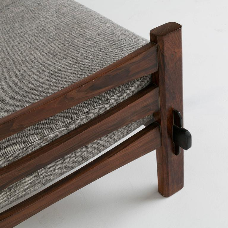 Brazilian Rosewood and Leather Strap Sculptural Sofa in Gray Fabric 7