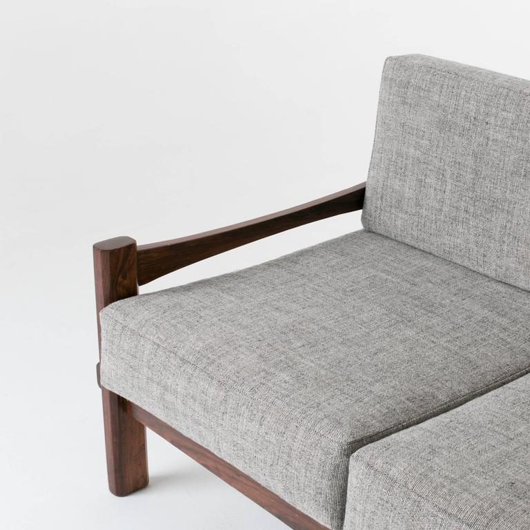 Brazilian Rosewood and Leather Strap Sculptural Sofa in Gray Fabric 6
