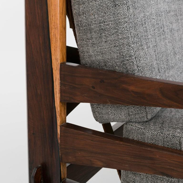 Brazilian Rosewood and Leather Strap Sculptural Sofa in Gray Fabric 8