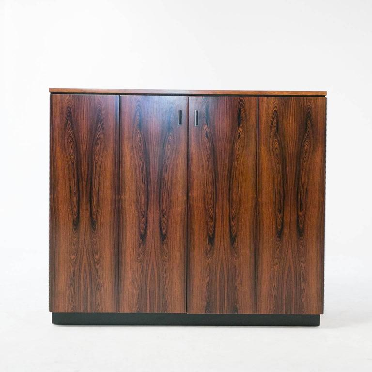 Harvey Probber Tall Walnut Cabinet Dresser Chest with Black Shelves 2