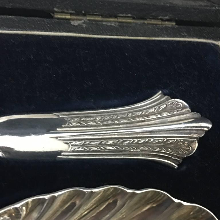 Late 19th Century Pair of Victorian Silver Plate Spoons in a Box England, circa 1870 For Sale