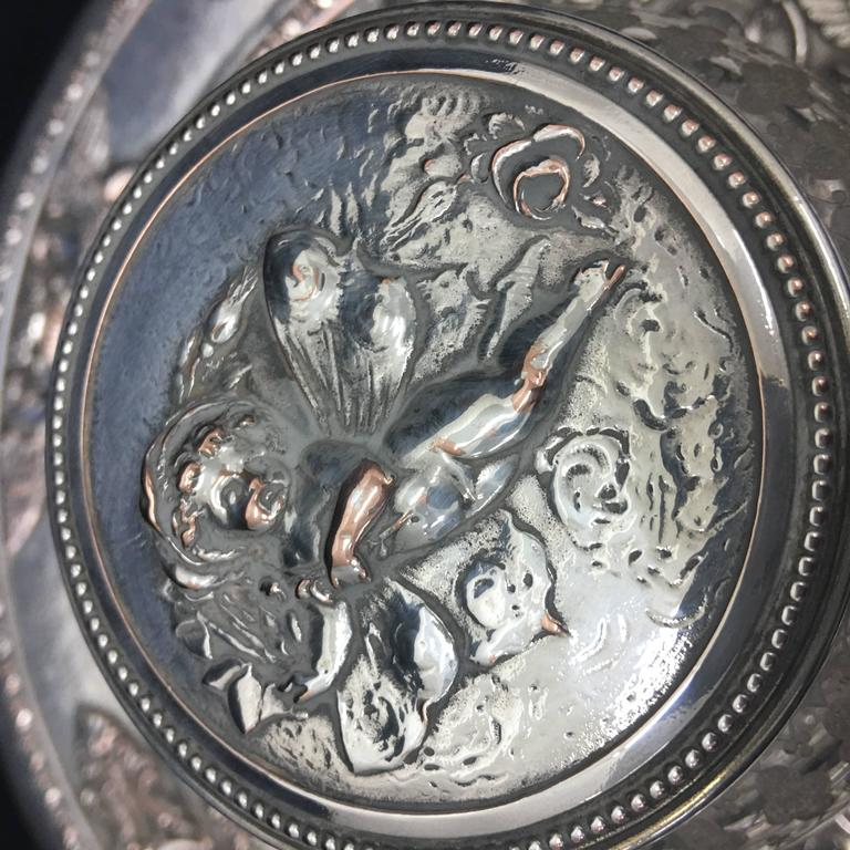Victorian English Silver Plated Inkwell by T. Elkington, circa 1870 For Sale