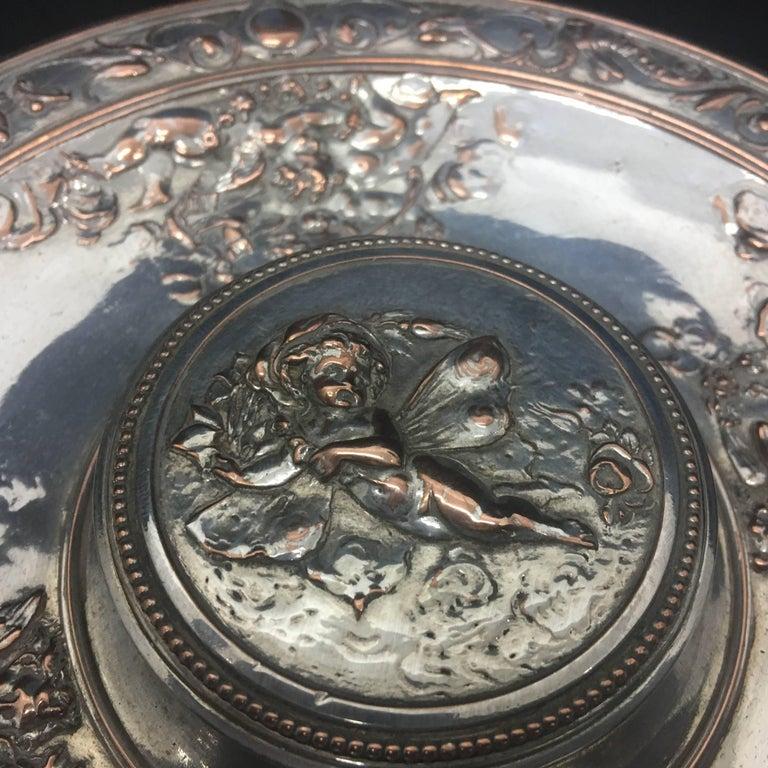 Baroque Revival T. Elkington Victorian Inkwell, circa 1870 For Sale