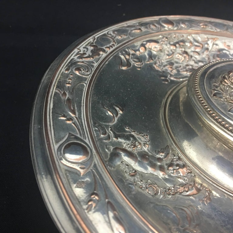 Silver Plate T. Elkington Victorian Inkwell, circa 1870 For Sale
