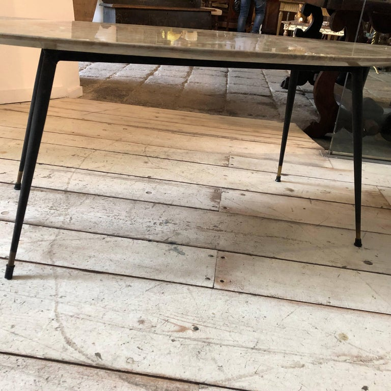 Metal Mid-Century Modern Italian Marble Coffee Table by Elio Capitani For Sale