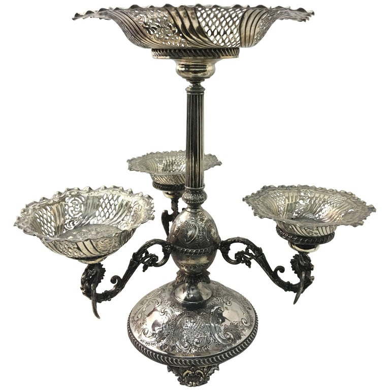 English Victorian Epergne by Mappin & Webb, circa 1870 For Sale