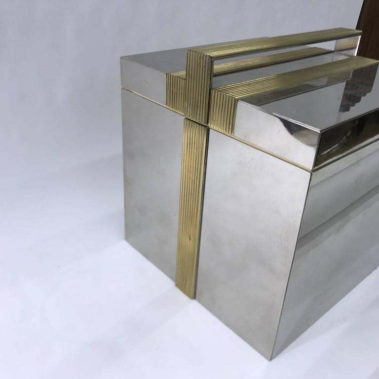 Italian, 1970s Squared Ice Bucket, Chrome and Brass 2