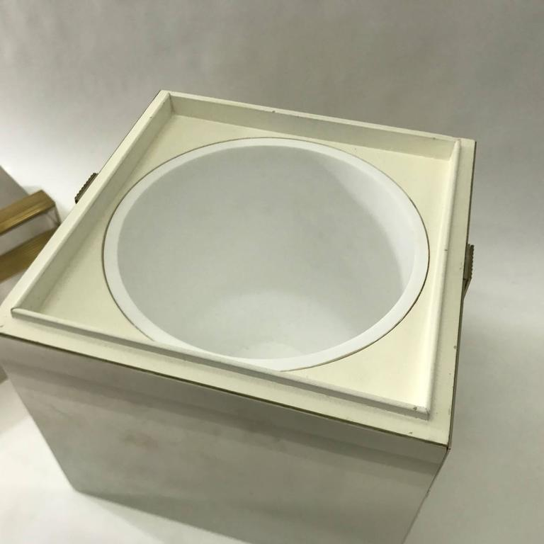 Italian, 1970s Squared Ice Bucket, Chrome and Brass 6