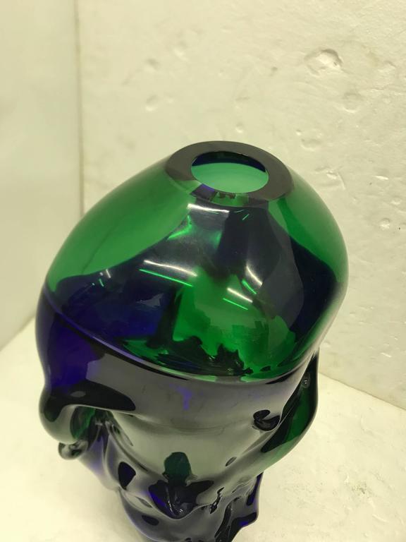 Unique Blue and Green Murano Glass Vase by Paolo Crepax, circa 1990 2