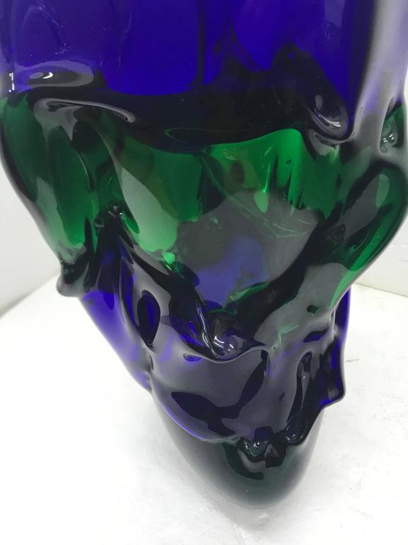 Italian Unique Blue and Green Murano Glass Vase by Paolo Crepax, circa 1990 For Sale