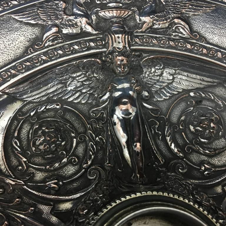 English Silver Plated Inkwell by T. Elkington, circa 1870 For Sale 1