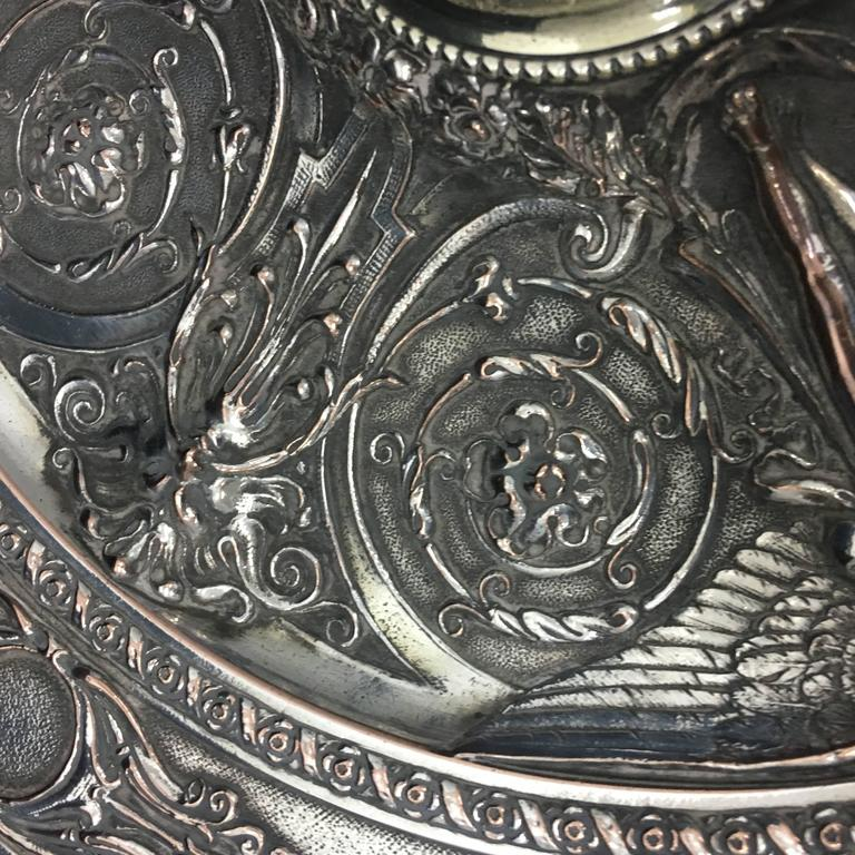 English Silver Plated Inkwell by T. Elkington, circa 1870 For Sale 2